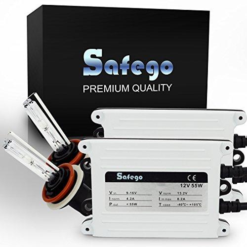 Safego 55W H8 H9 H11 AC Kit de Conversion Slim Xenon HID Set Lampe à Décharge Phare Ampoule de Rechange 6000K Blanc Pour Voiture CA 12V Xénon Ballasts et Accessoires Inclus