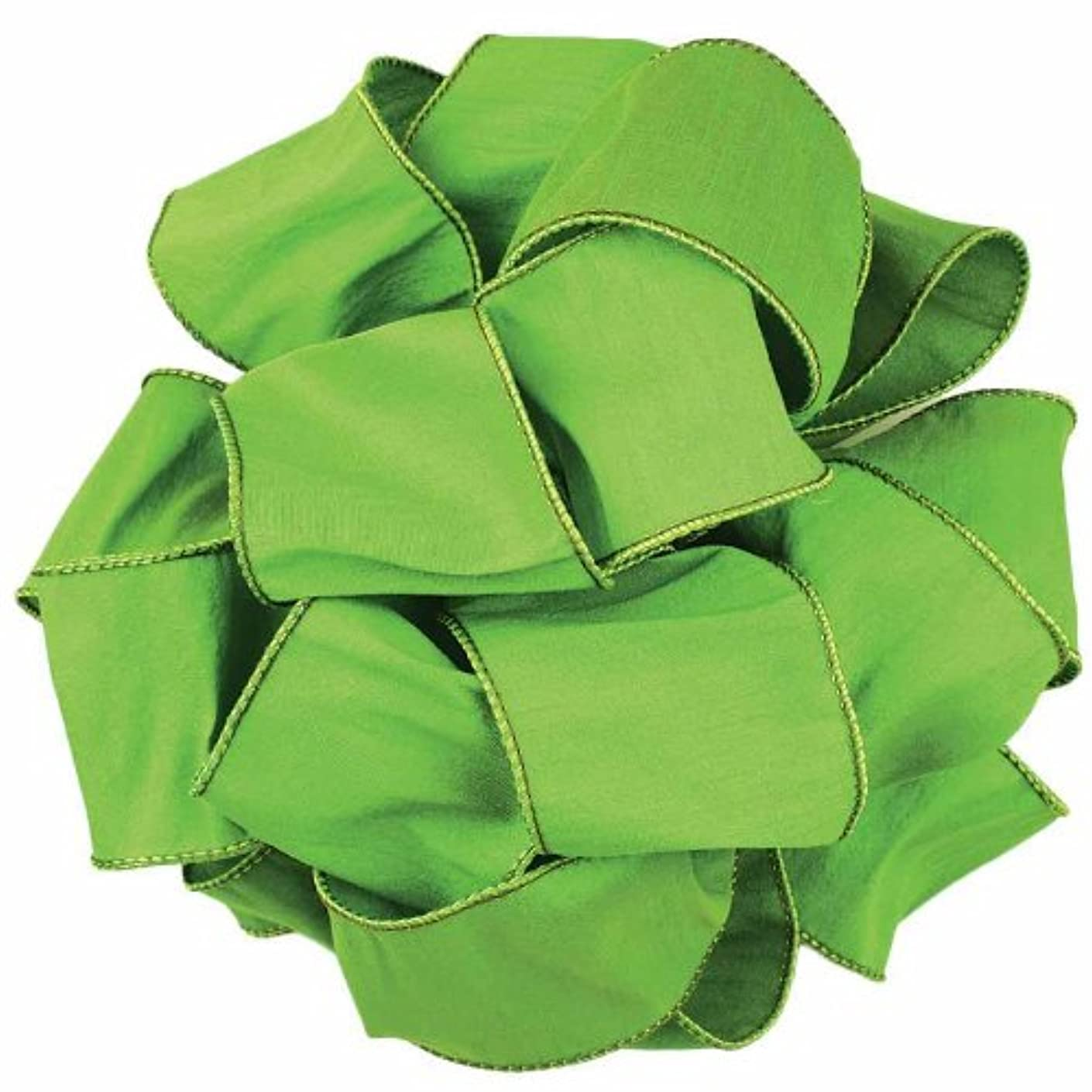 Offray Anisha Wired Edge Ribbon, 1-1/2-Inch by 25-Yard, Parrot Green