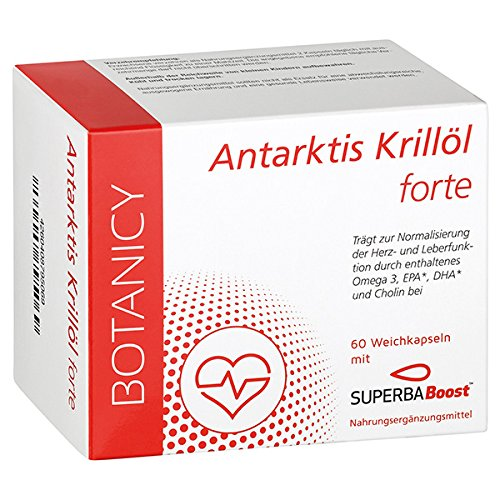 ANTARKTIS KRILLÖL FORTE OMEGA 3 mit SuperbaBoost, hochdosiert, Omega-3-Fettsäuren (DHA & EPA), mit Astaxanthin und Cholin, sehr gute Bioverfügbarkeit (60 Kapseln, Monatspack, MHD 05-2020)