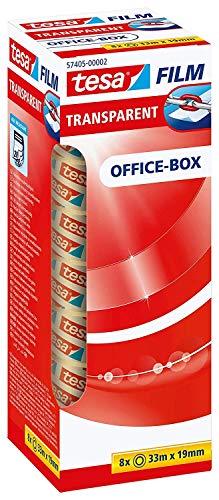 tesafilm transparent - Transparentes Klebeband mit starker Haftung - alterungsbeständig und reißfest, Office-Box mit 8 Rollen, 33m x 19mm