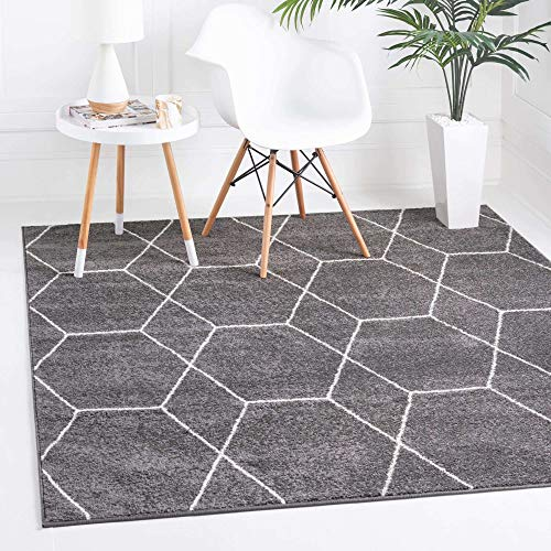 Unique Loom Trellis Frieze Collection Lattice Moroccan Geometric Modern Area Rug_TRF002, 8 Feet, Dark Gray/Ivory