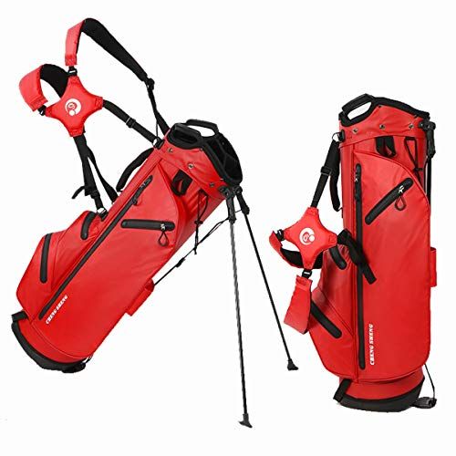 Portable Golf Stand Bag - Waterproof Golf Travel Bag with Multiple Storage Spaces, Accommodates 14 Clubs Perfect for The Golfer on The Go,Red