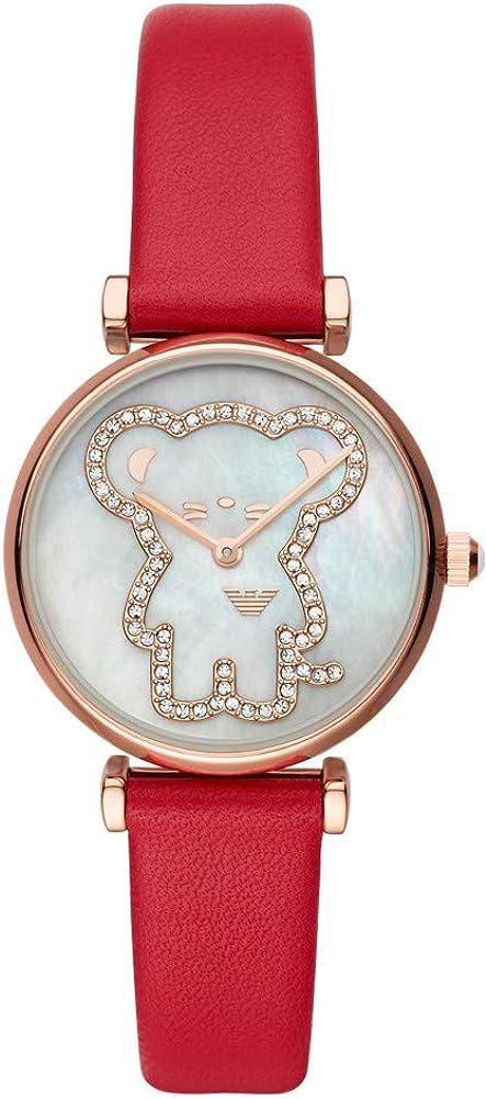 Emporio Armani - Gianni T-Bar- Reloj Analógico de Cuarzo con Correa de Cuero Roja para Mujer AR11281