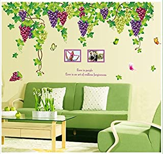 BIBITIME Plants Purple Grape Vines Green Leaves Butterflies English Letters Photo Frames Wall Decal PVC Home Sticker House Vinyl Paper Decoration WallPaper Living Room Bedroom Art Picture DIY Murals