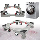 Strong Refrigerator Stand Washer Dryer Stand Moving Dolly Rollers with 4 Adjustable Feet and 8 Locking Rubber Casters Wheels for Fridge Washing Machine Pedestal