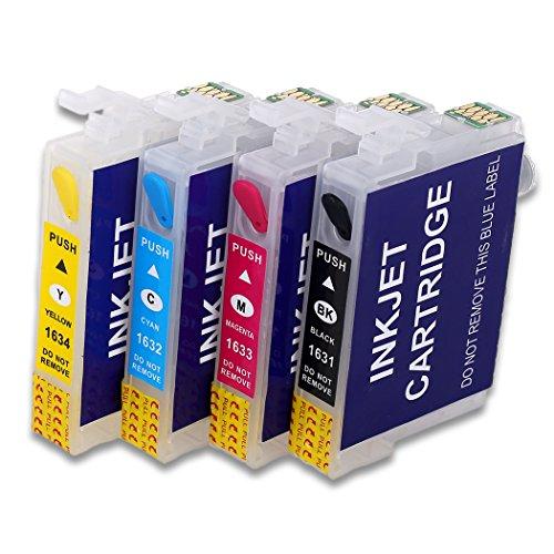 HEMEI - Cartucho de tinta recargable para modelos Epson WF-2510, WF-2520NF, WF-2530, WF-2540, WF-2010W, WF-2650DWF, WF-2630WF, WF-2660DWF, (4 unidades, 16xl)
