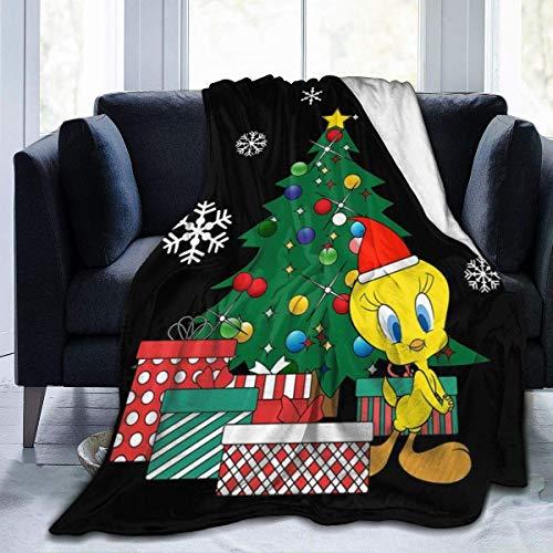 zaoyang Tweety um den Weihnachtsbaum Fleece Flanell Decke Decke Leichte Ultra-weiche warme Bettdecke Fit Sofa geeignet