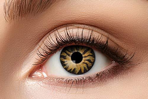 Zoelibat Farbige Kontaktlinsen für 12 Monate, Tiger, 2 Stück, BC 8.6 mm / DIA 14.5 mm, Jahreslinsen in Markenqualität für Halloween, Fasching, Karneval, grün/braun