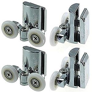 Rodamientos para mampara de ducha YuanQian, de acero inoxidable, 23 mm, para la parte inferior de la ducha, 4 piezas