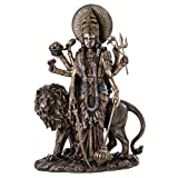 Top Collection Durga Female Hindu Statue with Lion- Divine Mother of The Universe Goddess Sculpture - Collectible East Asian New Age Figurine (Cold Cast Bronze)
