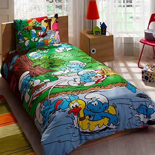 Original Lizenziert Bettwäsche-Set, Picknick Schlumpf Design, Single Größe, 100% Baumwolle, 3-Teilig (Bettbezug + Spannbettlaken + Kissenbezug)