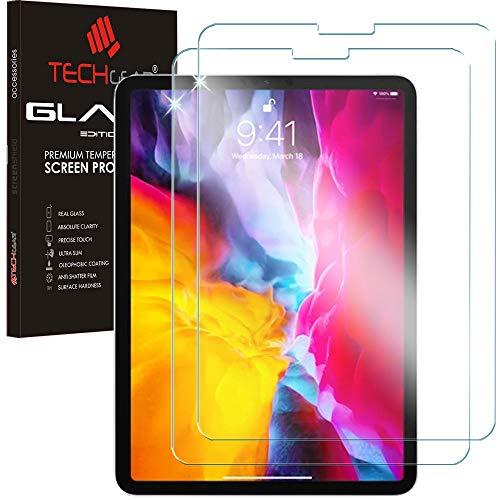 TECHGEAR [2 Pack GLASS Edition for iPad Air 4 2020, iPad Pro 11' - Genuine Tempered Glass Screen Protector [Face ID] Compatible with iPad Air 4 10.9 4th Generation, iPad Pro 11 2020/2018 2nd/1st Gen