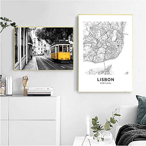Lisboa Portugal Mapa de la ciudad Impresiones de pósters Azulejos portugueses Vintage Arte de la pared Pintura de la lona Fotografía de la ciudad Decoración para el hogar 40x60cmx2 50x70cmx1 Sin marco