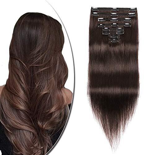 Extension a Clip Cheveux Naturel Type Fin - Rajout Vrai Cheveux Humain - 8 Bandes (#02 Brun, 25 cm (50 g))