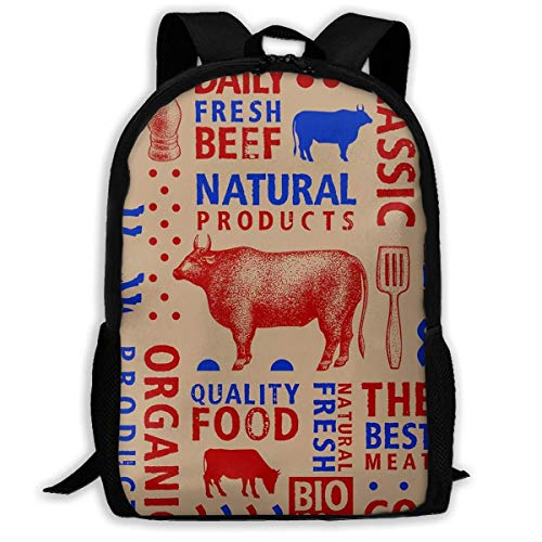 huatongxin School Backpack Butchery Natural Products Duck Chicken Bookbag Casual Travel Bag for Teen Boys Girls