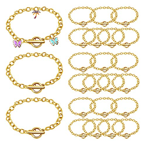 24 Pieces Gold Chain Bracelets OT Toggle Clasps Bracelet Link Jewellery Bracelet Making Chains for Women Girls DIY Charm Bracelet Chain Crafts