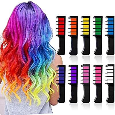 Hair Chalk Temporary Hair Color for Girls Kids Washable Hair Chalk Comb Birthday Gift for Girls Age 4 5 6 7 8 9 Year Old Christmas Presents Halloween Party Cosplay 10 color