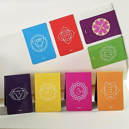 Chakra Segnalibri Magnetici Con Indicatori (in Inglese) Bellissimi Mandala Colorati e Informazioni Su Entrambi I Lati Del Supporto (2,7 cm x 4 cm Piegato, 8 Pezzi)