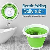 洗濯機ポータブル、超音波タービンミニ洗濯機折りたたみ式浴槽付き USB 携帯用10L容量洗濯機一人暮らし出張旅行,Green
