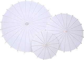 lyrlody- Paraguas de Parasol Japonés Chino, Paraguas de Papel Sombrilla de Papel Blanco, para Decoración Boda Fiesta Fotografía Cosplay Prop, Diámetro 40 cm(Diámetro30cm)