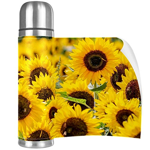 Sunflower Garden Golden Stainless Steel Mug Vacuum Insulated Tumbler Travel Tumbler Thermos Stainless with Lid Best Gift for Children 16.9OZ