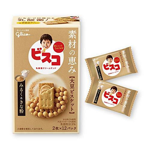 江崎グリコ ビスコ素材の恵み(大豆) みるく&きな粉 24枚 ×10個