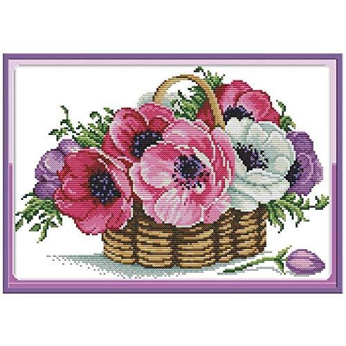 Lorenory kruissteek-mand, bloemen-tellpatroon, 11CT 14CT kruissteek-set, Chinees DMC-kruissteek-borduurwerk, set Needlework Home Decor