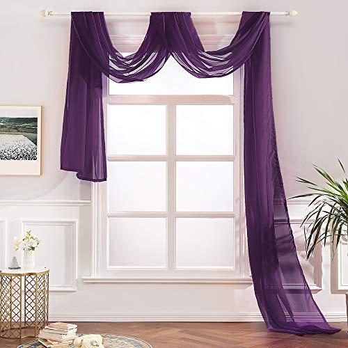 MIULEE Rideaux Longs Couleur Pure Oeillet Voilage Moustiquaire Broderie en Polyester Voile Rideaux de Fenêtre Décoratives pour Salon Chambre Toilettes 140x550cm Violet
