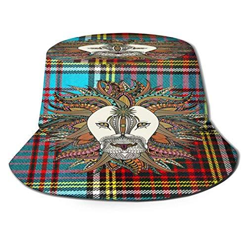 Sombrero de Cubo de león de Tela Cuadrada Moderno Gorra de Verano Unisex al Aire Libre Sombreros de Sol Plegables para Senderismo Deportes de Playa Negro