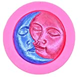 Moon Face Silicone Fondant Mold Sun and Moon Face Soap Mold Jelly Pudding Candy Making Silicone Mold Cake Decoration Mould Fondant Chocolate,Handmade Bath Bomb, Lotion Bar, Polymer Clay, Wax, Crayon