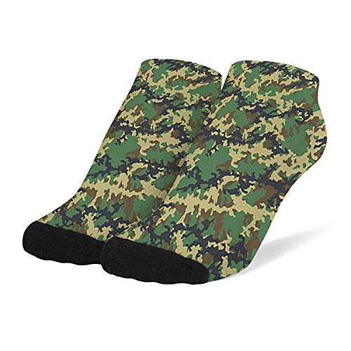 Womens Athletic Socks Breathable Warm Crew Socks Army-Fashionable-camouflage- Knit Low Cut Anklets