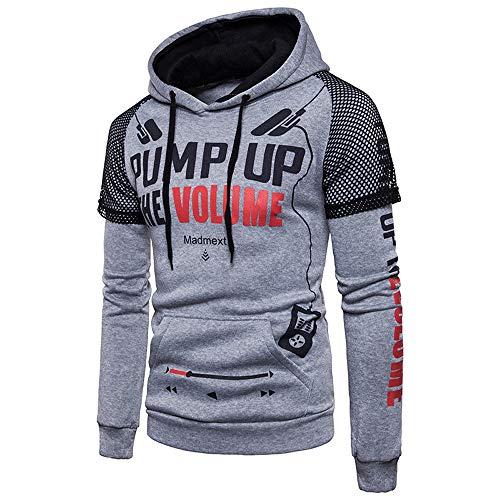MRULIC Herren Langarm Streetwear Hoodie Sweatshirt Tops Oberbekleidung mit Kapuze Pullover RH-013(Grau,EU-50/CN-2XL)