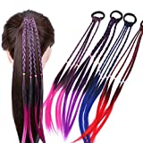 Girls Hair Extensions Accessories - Colorful Wigs Ponytail Hair Ornament Headbands Rubber Bands Beauty Hair Bands Headwear Kids Twist Braid Rope Headdress for Women Kids Set of 4