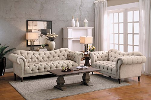 """Homelegance St. 92"""" Claire Fabric Chesterfield Sofa, Almond Brown"""