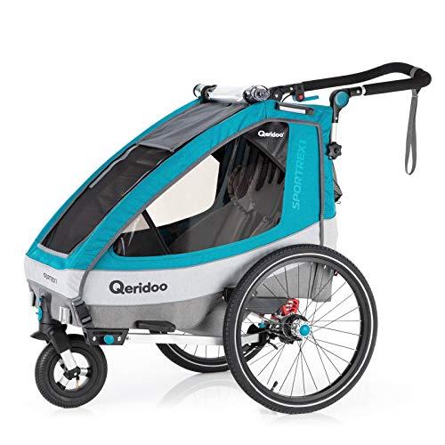 Qeridoo Sportrex 1 Fahrradanhänger Kinder, 1 Sitzer, einstellbare Federung