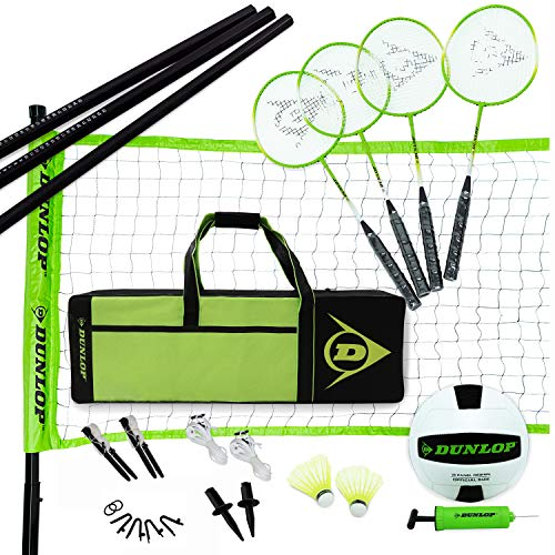 DUNLOP Volleyball Badminton Lawn Game: 11- Piece Outdoor Backyard Party Set with Carrying Case, Black/Green, Model Number: NET320_197D