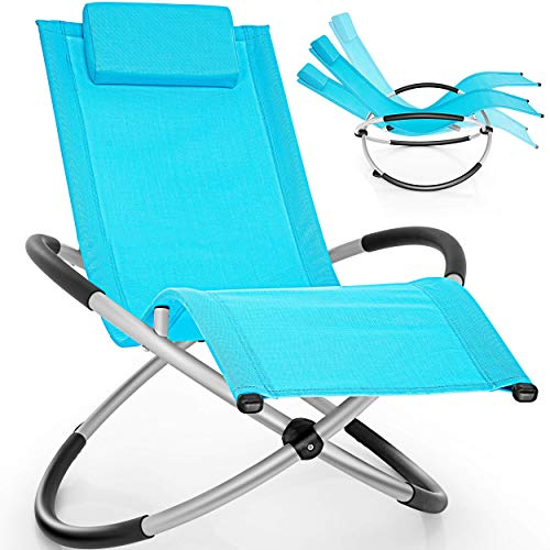 tillvex Relaxliege Gartenliege faltbar | Liegestuhl wetterfest | Schwungliege 180 kg Belastung | Gartenstuhl atmungsaktiv (Blau)