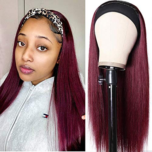Nadula Straight Hair Ombre 99J Headband Wig Brazilian 10A Remy Human Hair No Lace Glueless Wigs with Elastic Band Wear and Go for Black Women 1B99J 24 Inch