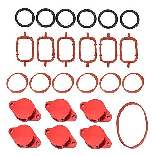 6 x Swirl Flaps+6 x Gaskets+1 x Bag of Cushion, 6x33 mm Engine Swirl Flaps Delete Blanking Plugs Set with Rubber Gaskets for M57 E39 E60 E61 M57 E53 E38 E39 E46 E65 E90 E91 E92(red)