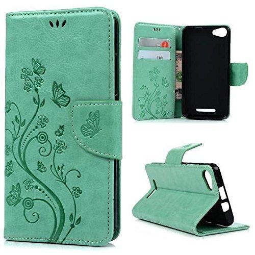 xifanzi Wallet Brieftasche Ledertasche Flip Hülle für Wiko Rainbow Jam(4G) PU Leder Folie Schutzhülle Schmetterling Blume Grün Entwurf Tasche Handytasche Schutz Leder Hülle für Wiko Rainbow Jam(4G)