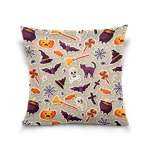 N/Q Sisters Throw Pillow Cover, 18 x 18 Inch I Small Children Cushion Case Decoration for Sofa Couch Cushion Covers Square Outdoor Pillowcase Halloween Cat Cross