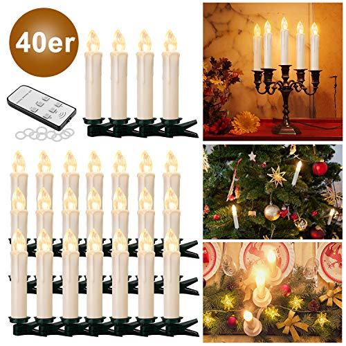 YAOBLUESEA 40stk Weinachten LED Kerzen Lichterkette Kabellos Weihnachtskerzen Christbaumschmuck Weihnachtsbaumbeleuchtung mit Fernbedienung Kabellos für Weihnachtsbaum Weihnachtsdeko Hochzeit Beige