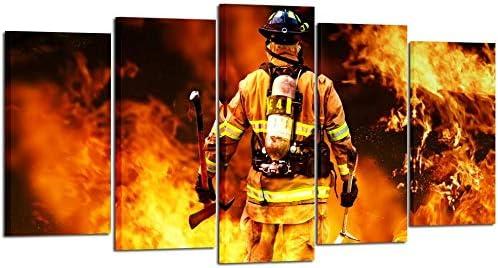 Fireman Back Canvas Prints Fire Fighter Inspirational Framed Art Print Wall 5 pcs Modern Canvas product image