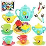 20 Piece Kids Pretty Flower Tea Set Party & Cake Play Set Teapot Role Pretend Toy