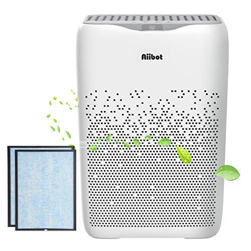 Aiibot Luftreiniger für Wohnung mit True HEPA-Kombifilter und Ionisator,55m²,leise Schlafmodus Timer, Aktivkohlefilter,für Raucher,Allergiker,gegen Staub, Pollen,Haustiergeruch (2 Filter)
