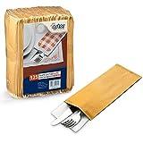 125 bolsas para cubiertos, de papel de estraza para uso alimentario, de 10 x 25 cm, con servilleta de papel de 40 x 40 cm, ideales para aperitivos y cenas (100)