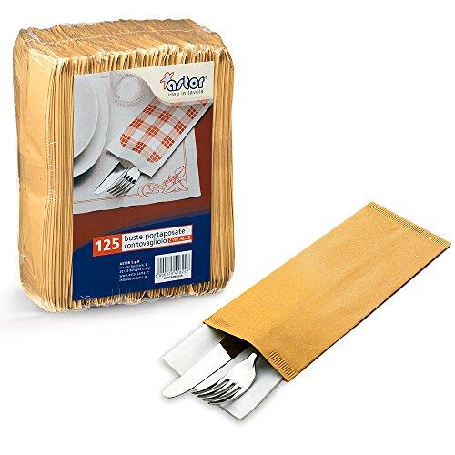 Lot de 125 pochettes à couverts en papier paille, 10 x 25 cm, avec serviette 40 x 40 cm, pour apéritif, apéritif dinatoire, happy hour, pour aliments