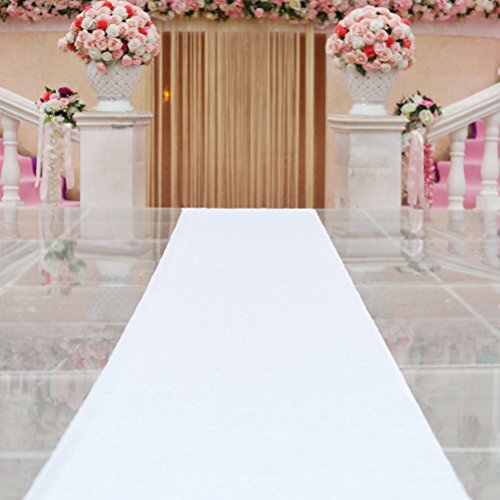 TRLYC 24' x15ft Shimmer White Aisle Runner Sparkly Sequin Carpet Runner 2ftx 15ft Aisle Runner Outdoor for Wedding, Church, Garden