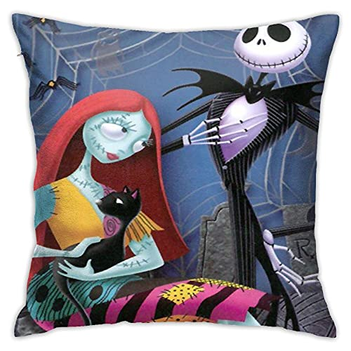 KINGAM Fundas de cojín decorativas, Jack Skellington y Sally Halloween Horror Movies La pesadilla antes de Navidad, suave cojín cuadrado, fundas de almohada para sofá, color 10