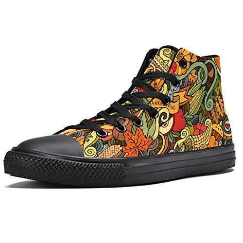 Anmarco Cartoon Foods and Drinks Doodle High Top Sneakers Moda Encaje Up Zapatos de lona Casual Escuela caminar zapatos para hombres adolescentes niños, color Multicolor, talla 40 2/3 EU